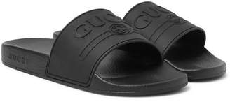 Gucci Logo-Embossed Rubber Slides - Men - Black