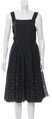Marc Jacobs Wool Eyelet-Accented Dress Grey Wool Eyelet-Accented Dress