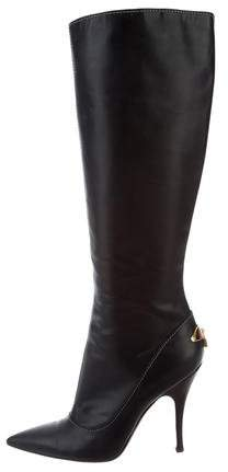 Louis Vuitton Knee-High Lock-Embellished Boots
