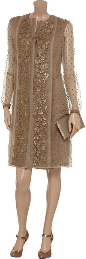 Valentino Leather-appliquéd tulle dress