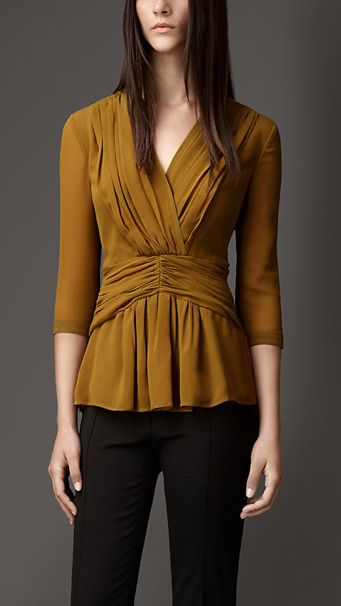 Burberry Pleat Detail Georgette Shirt