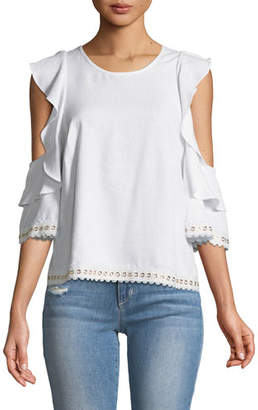 MISA Los Angeles Aline Cold-Shoulder Blouse with Grommet Trim