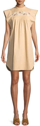 Chloé Short Flutter-Sleeve Coated Linen Dress with Cutout Details