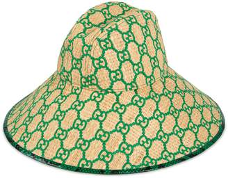 Gucci Online Exclusive GG wide brim hat with snakeskin