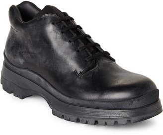 Prada Black Chunky Leather Oxfords