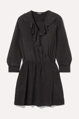 A.P.C. Ada Ruffled Silk-chiffon Wrap Mini Dress - Black