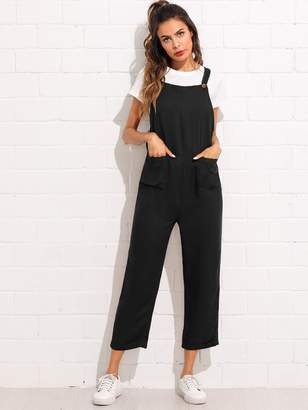 a8f8c4c16c1 Shein Pocket Front Rolled Up Hem Pinafore Utility Jumpsuit
