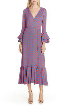 Diane von Furstenberg Chain Link Ruffle Sleeve Wrap Dress