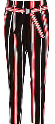 River Island Girls black stripe tie waist tapered pants