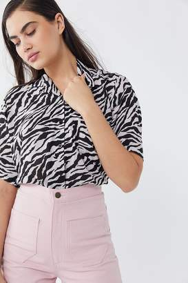 Motel Zebra Print Button-Down Shirt