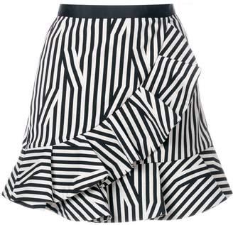 Self-Portrait striped ruffled skirt
