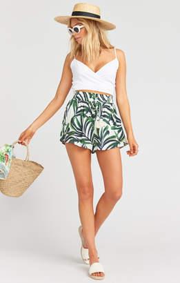 Show Me Your Mumu Serena Smocked Tassel Shorts ~ Peruvian Palm