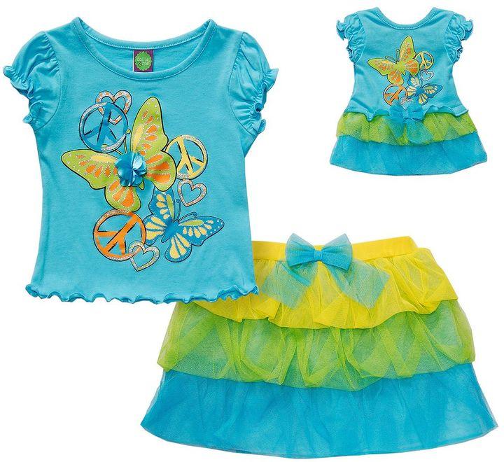 Dollie & Me butterfly top & skirt set - girls 4-6x