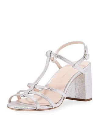 Loeffler Randall Elena Crinkle Metallic T-Strap Block-Heel Sandal