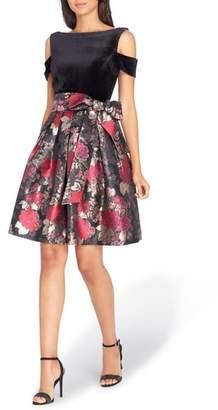 Tahari Cold Shoulder Fit & Flare Dress