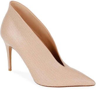 Valentino All Stitched V-Cut Leather Pumps