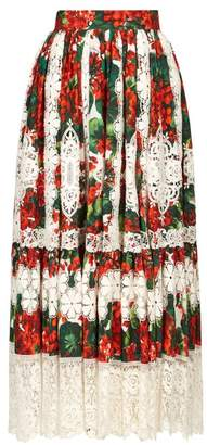 Dolce & Gabbana Geranium Print Macrame Hem Poplin Midi Skirt - Womens - Red Multi