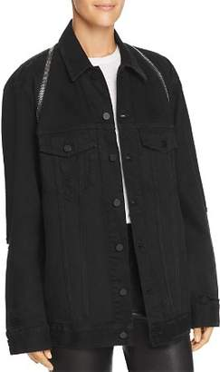 Alexander Wang alexanderwang.t Daze Zip Distressed Denim Jacket in Black Destroy