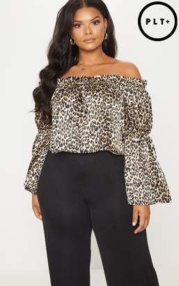 Plus Brown Leopard Print Bardot Crop Blouse Pretty Little Thing Outlet Store Discount Nicekicks Professional Online With Credit Card For Sale d3P7tQclS