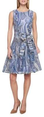 Tommy Hilfiger Paisley-Print Striped Sheer Fit & Flare Dress