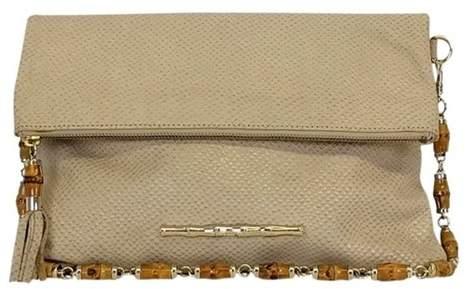 Elaine Turner Beige Leather Shoulder Bag