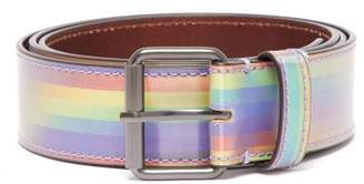 Vetements Logo Print Rainbow Leather Belt - Mens - Rainbow