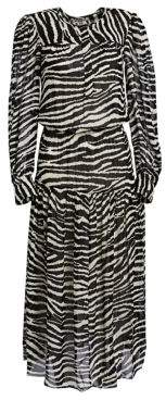 Etoile Isabel Marant Women's Jina Long-Sleeve Zebra Midi Dress - Ecru - Size 40 (8)