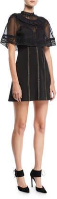 Self-Portrait Trimmed Cape Overlay Mini Dress