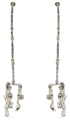 Givenchy Molten Hammered Drop Earrings - Womens - Silver