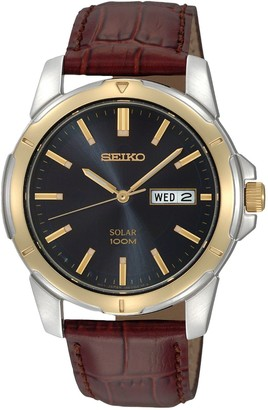 Seiko Men's Two Tone Stainless Steel Leather Solar Watch - SNE102