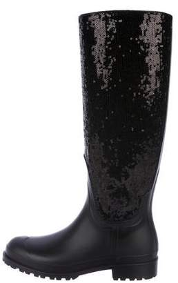 Saint Laurent Rain Gum Sequin Rain Boots w/ Tags