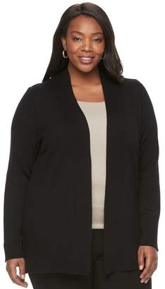 Dana Buchman Plus Size Ribbed Transitional Open-Front Cardigan