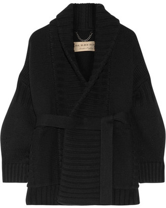 Burberry - Ribbed Wool And Cashmere-blend Cardigan - Black $1,250 thestylecure.com