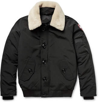 Canada Goose Foxe Shearling and Leather-Trimmed Shell Down Bomber Jacket