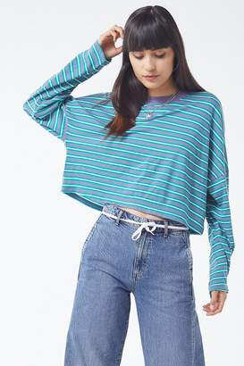 Urban Outfitters Jana Striped Long Sleeve Cropped Top