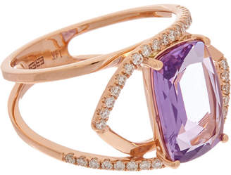 Effy Fine Jewelry 14K Rose Gold 3.38 Ct. Tw. Diamond & Amethyst Ring