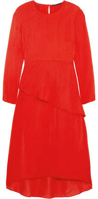Maje Remania Ruffled Satin-crepe Dress - Red