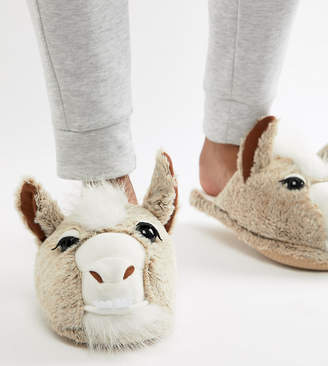 Asos DESIGN llama slippers in stone