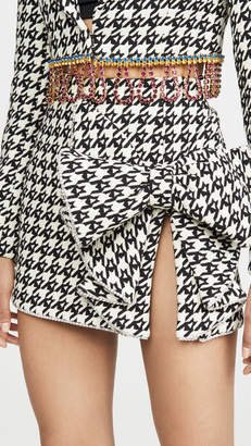 Area Monogram Houndstooth Crystal Trimmed Bow Skirt