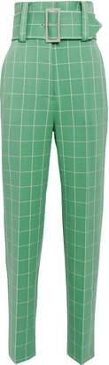 Sara Battaglia Green Wide Check Pants