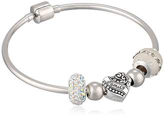 CHARMED BEADS Sterling Family Bangle Set Snake Charm Bracelet