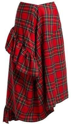 Preen by Thornton Bregazzi Morgan Tartan Wool Midi Skirt - Womens - Red Multi