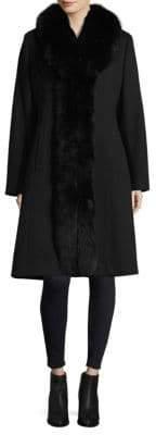 Sofia Cashmere Fox Fur-Trimmed Tuxedo Coat