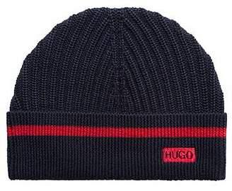 99b2b2f836d HUGO BOSS Ribbed beanie hat in virgin wool with seasonal stripe