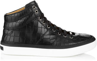 Jimmy Choo BELGRAVIA Black Crocodile Embossed Leather Sneakers