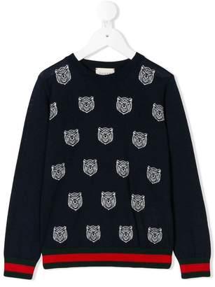Gucci Kids tiger embroidered jumper