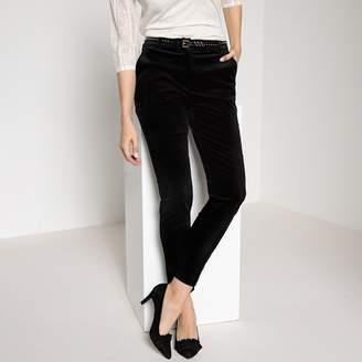 """Anne Weyburn Straight Stretch Velvet Trousers, Length 30.5"""""""