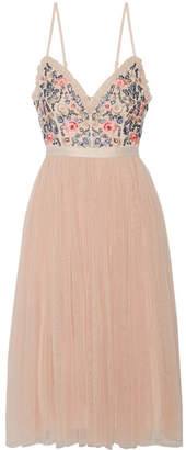 Needle & Thread - Whisper Open-back Embellished Chiffon And Tulle Midi Dress - Blush $290 thestylecure.com