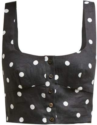 Araks Tilly Polka Dot Cropped Organic Linen Top - Womens - Black Multi