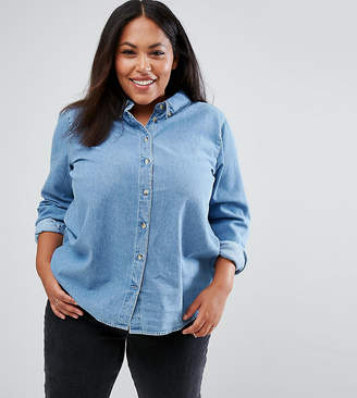 Asos DESIGN Curve denim shirt in midwash blue